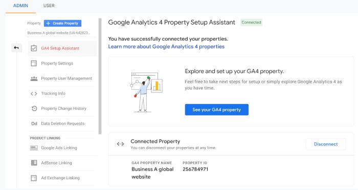 Property page Google Analytics