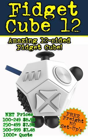 The Wonka 12 sided fidget cube for promotional products, trade shows, corporate gift and b2b marketing
