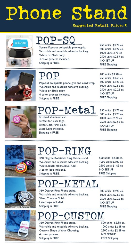 popsocket pop retail price list for tradeshow giveaway
