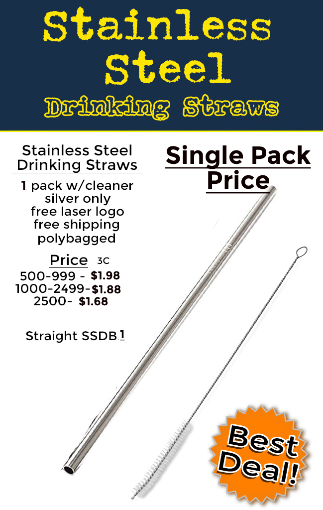 Show the world your business is eco friendly with your logo on a stainless steel drinking straw.