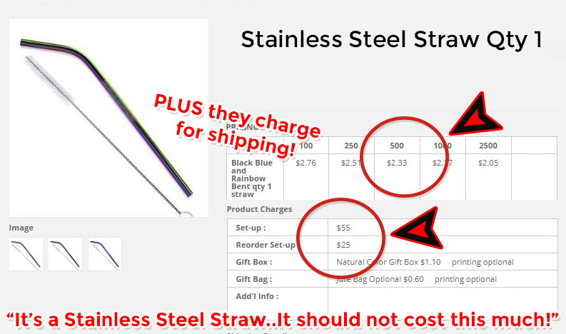 stainless steel drinking straws for less