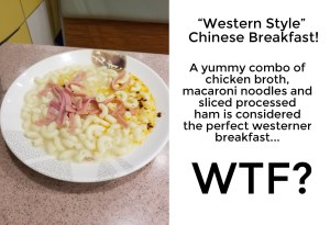 Awful breakfast in China. China direct product promotional products from promo motive