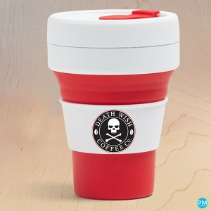 silicone folding collapsible coffee cup 12 ounce red
