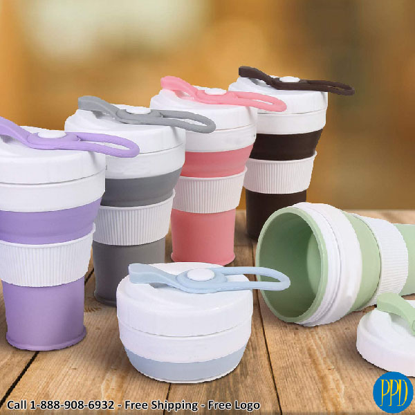 450 ml or 16 ounce folding collapsible silicone coffee cup