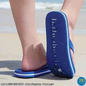 die cut flip flop sandals logo on the sole