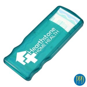 Custom bandaid case.Great promotional giveaway. Inexpensive and everyone wants one. Customized bandaid and bandage kit. Promotional Product Direct