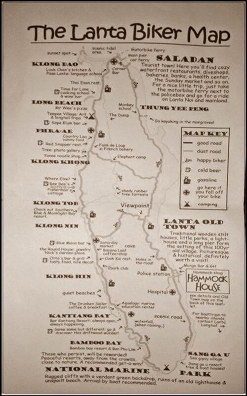 Things to do on Koh Lanta - BIker Map