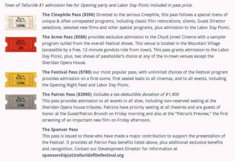 Telluride Film Festival Passes