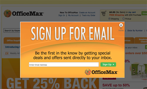 Office Max Email Subscription Popup Box