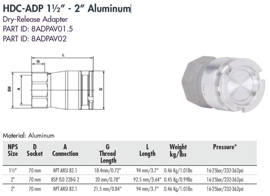"""HDC-ADP 1½"""" - 2"""" Aluminum"""