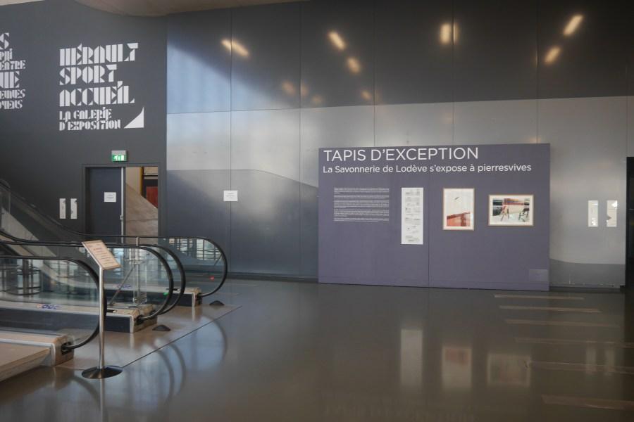 Cimaise mobile pour l'exposition Tapis d'exception. La Savonnerie de Lodève s'expose à pierresvives