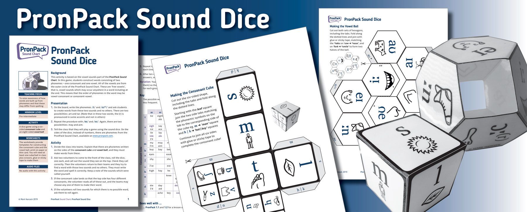 PronPack Sound Dice - Extra activity based on the PronPack Sound Chart for use in class