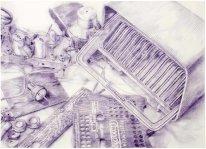TELEFUNKEN II. lápiz de acuarela sobre papel. 100 x 140 cm. 2012. ©Jairo Alfonso