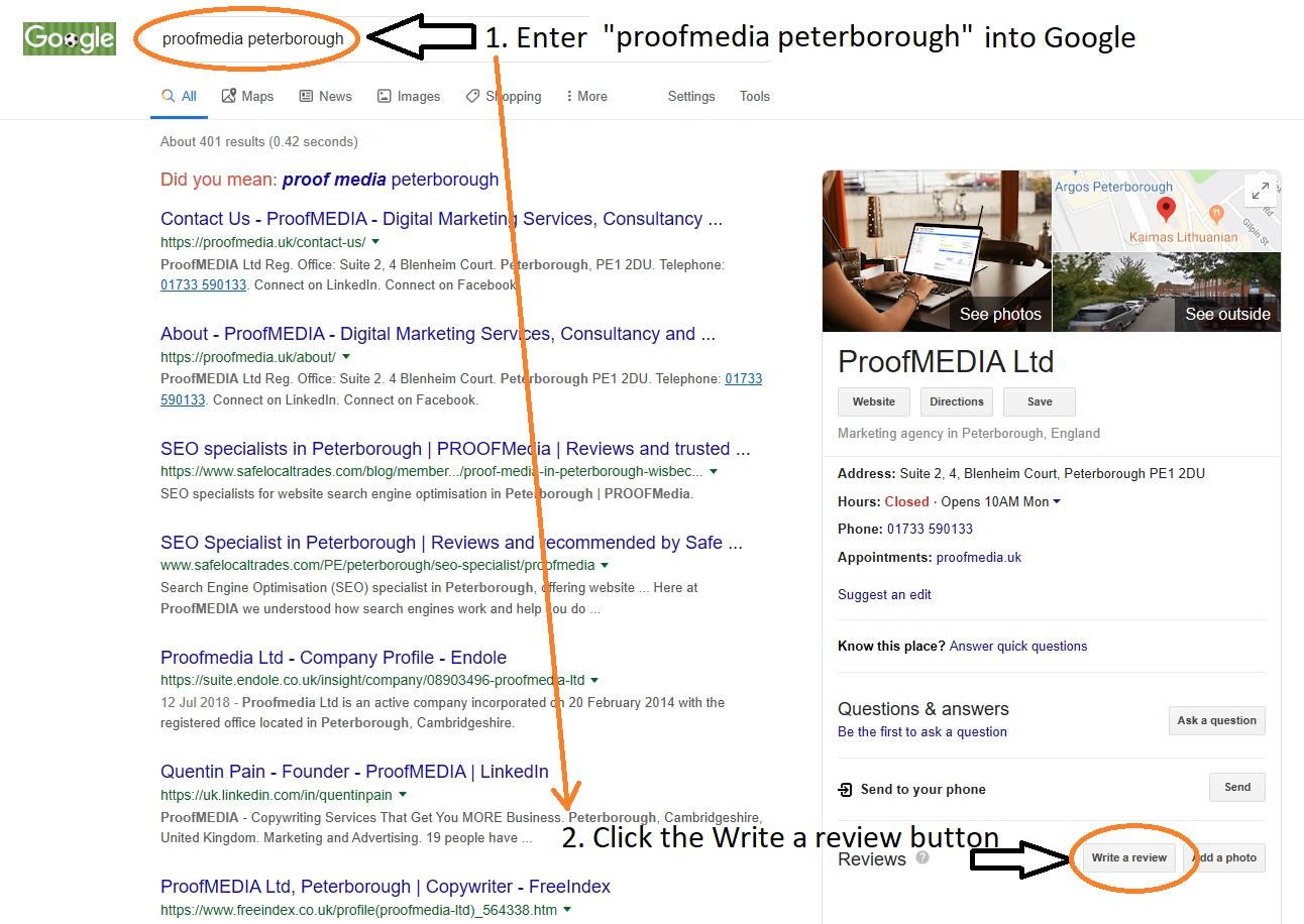 ProofMEDIA Peterborough Google Review Instructions
