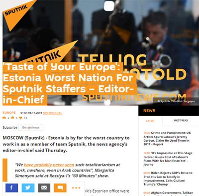 Chefredakteur der RT: Estland ist für die Mitarbeiter von Sputnik der schlechteste Ort Europas.
