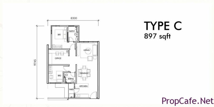Type C:  897sf 2Bedroom + 1 Office + 2Bath