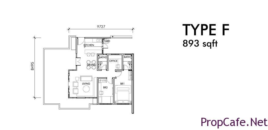 Type F: 893sf 2Bedroom + 1 Office + 2Bath