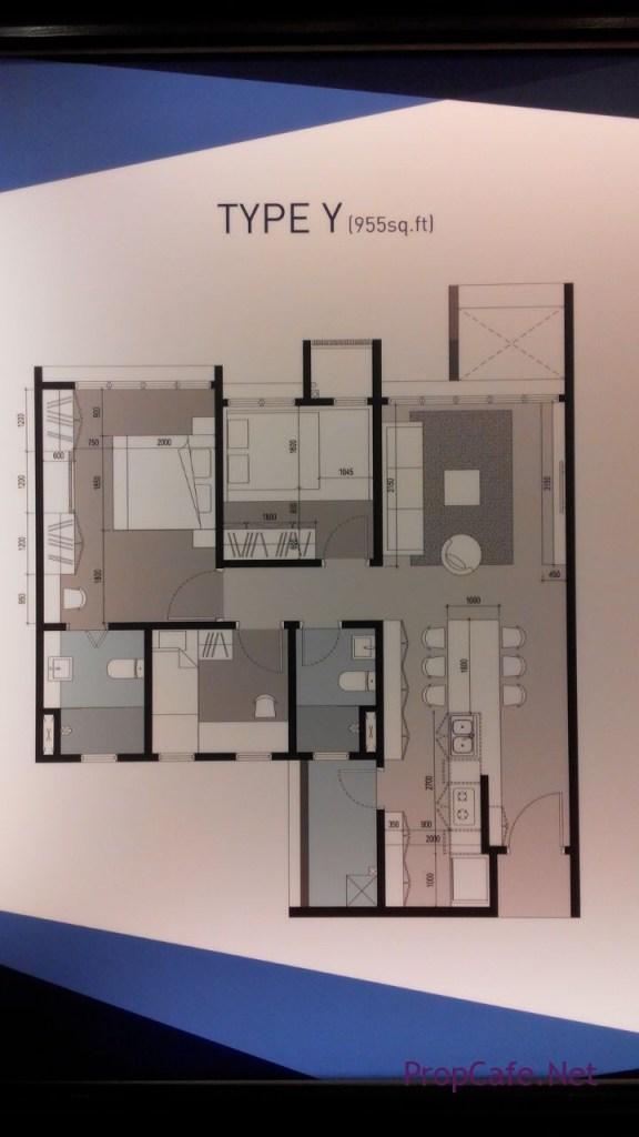 Ohako Type Y 955sf (w/o balcony) & Type Z 1002sf (with balcony) 3 bedroom