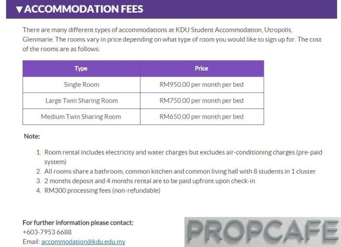Paramount Utropolis Glenmarie Student Accomodation Rate as of 15th Oct 2015. Source from : http://www.kdu.edu.my/admission/accommodation/521-kdu-student-accommodation-utropolis-glenmarie