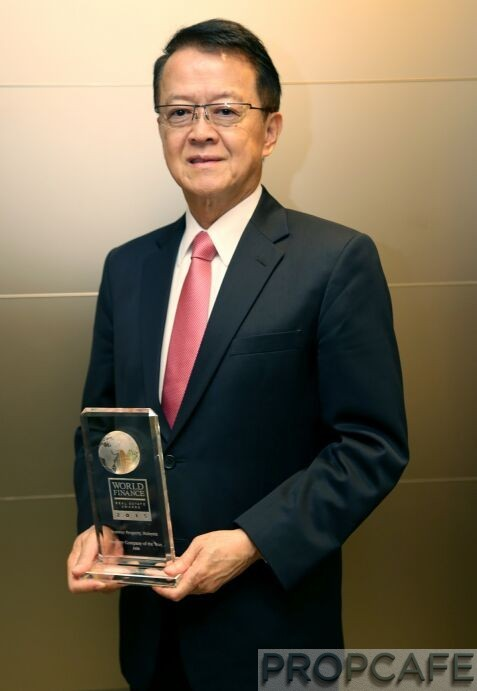 Sunway Group founder and chairman  Tan Sri Dr. Jeffrey Cheah with the World Finance Real Estate Awards for Property Company of the Year 2015