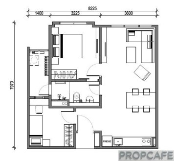 Type A 670sqft 2 bedrooms