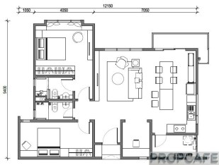 TypeF 1050sqft 2+1 bedrooms