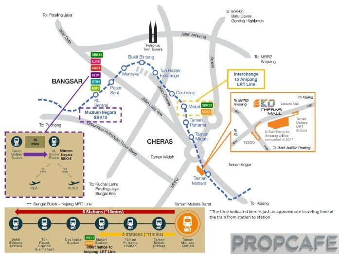 EkoCheras MRT Line Map