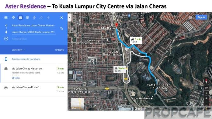 Aster Residence – From Kuala Lumpur City Centre via Jalan Cheras