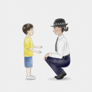 Child and police officer