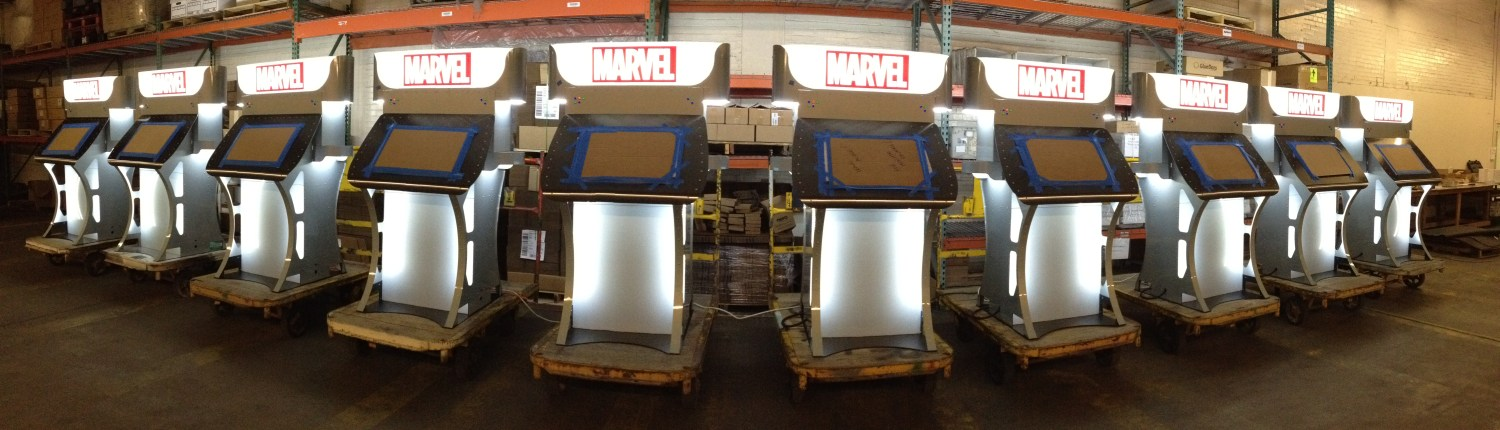 mobile 3d face scanner display assembled and manufactured by propeller, marvel logo