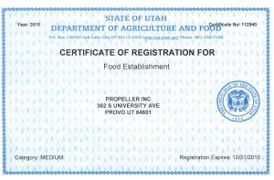 Food Establishment Certification