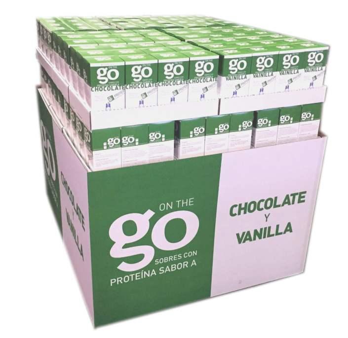 Go Protein packaging floor display.