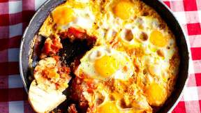 ISRAELI Eggs poached in spicy tomato sauce (shakshuka)