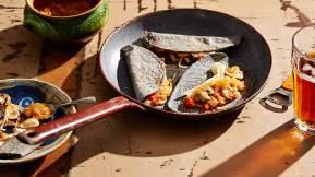 MEXICAN Blue corn quesadillas with mushrooms (quesadillas azules con hongos)