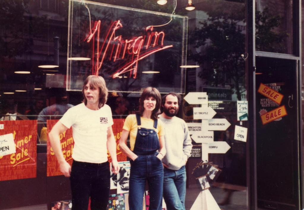 Paul Dolman, Carole Clarke and Phil Middleton outside Virgin Records, July 1980