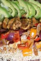 Fajita spiced chicken platter with avocado salad
