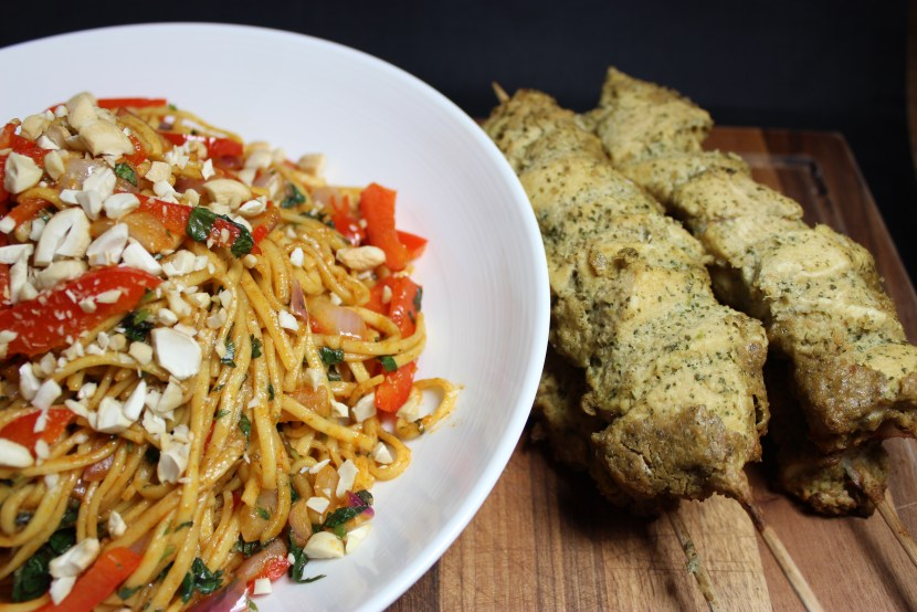 Chicken satay with crunchy noodle salad