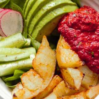 Paprika Potatoes with 4 ingredient roasted red pepper and beetroot dip