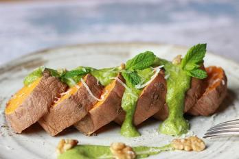 celery and walnut pesto with sweet potato