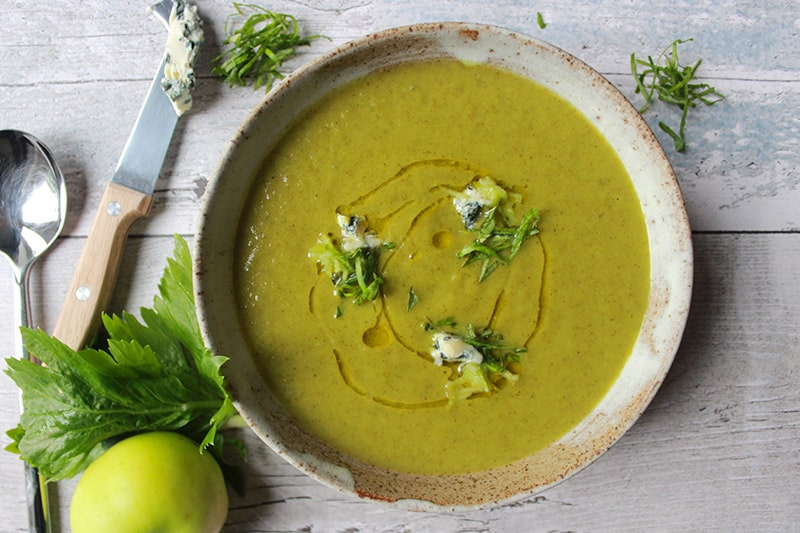 Celery, Apple and Blue Cheese Garden Soup