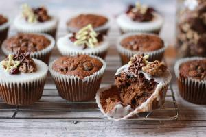 christmas cake muffins iced bite taken | Properfoodie