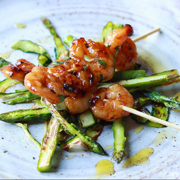 Sticky, Honey Glazed Prawns with Griddled Greens