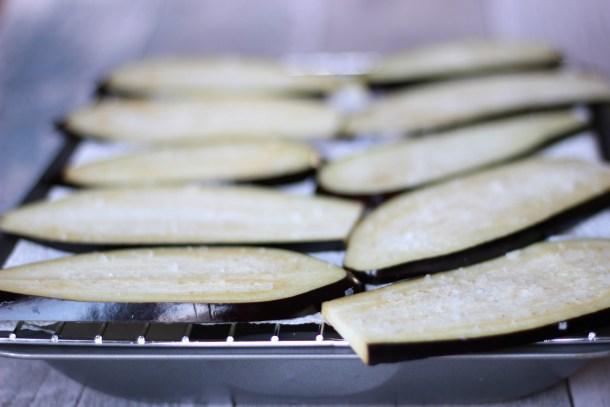 Salting aubergine