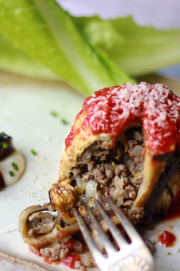 aubergine pie with mince meat and leek filling