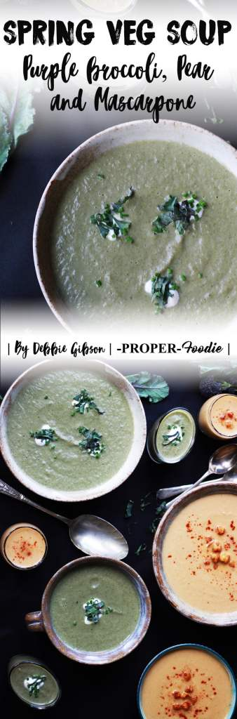 A sweet, earthy purple sprouting broccoli soup, with juicy pears and creamy mascarpone cheese