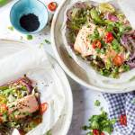 Asian Salmon with soy honey and lime dressing