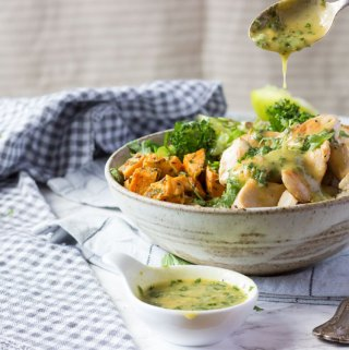 easy chicken bliss bowl with tarragon dressing