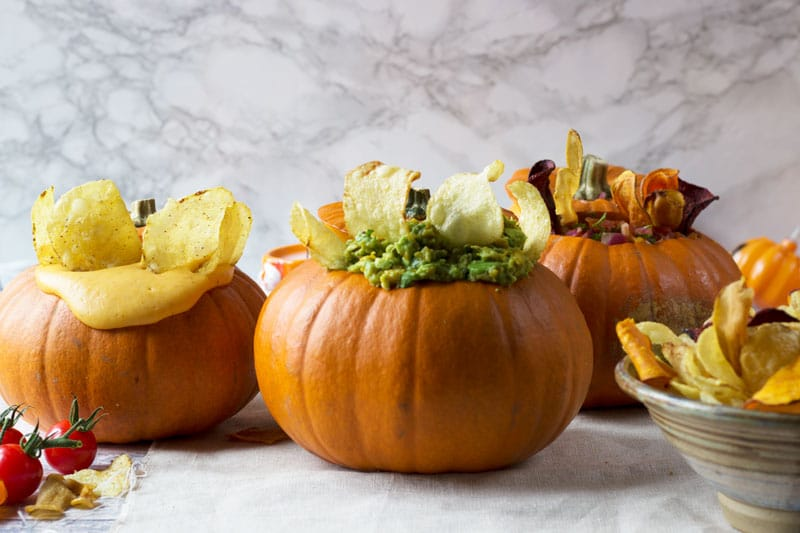 Halloween Crisps and Dips in Pumpkins