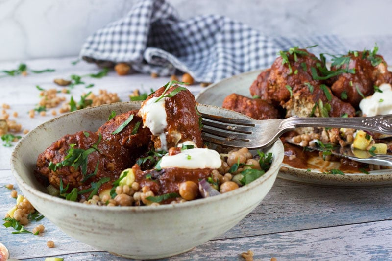 meatballs and giant cous cous