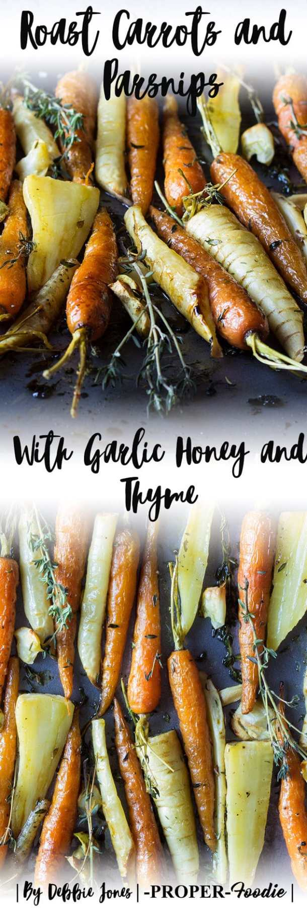 Honey glazed carrots and parsnip root vegetables with garlic and thyme